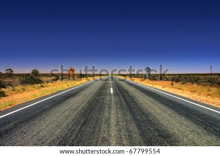 traveling South Australia, Highway to Broken Hill, Australia - stock photo