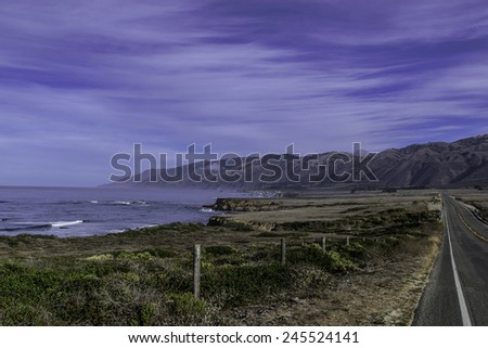 Traveling the Big Sur Highway (Highway 1) and Coastline. California Central Coast, near Cambria, CA.  - stock photo
