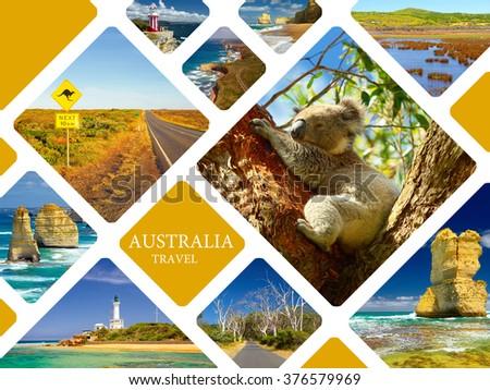 Traveling to Australia. Travel collage - stock photo