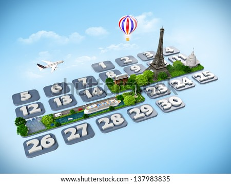 traveling to Paris. One week at the calendar - stock photo