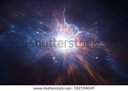 Traveling trough space and time, intergalactic exploration - stock photo