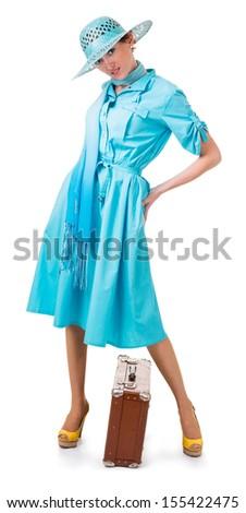 traveling woman in retro clothing. Isolation on white background - stock photo