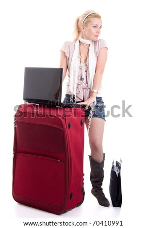 Traveling young beautiful businesswoman with luggage, isolated on white background - stock photo