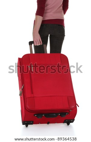 traveller with a suitcase isolated on white - stock photo
