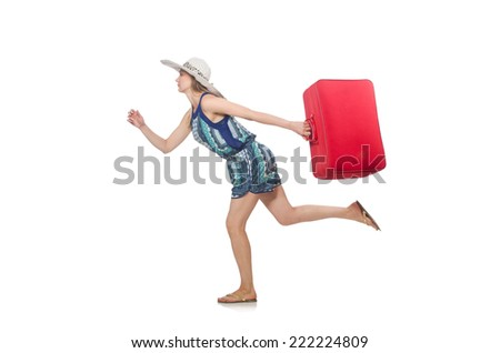 Travelling concept with person and luggage - stock photo