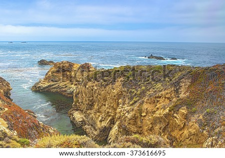 Travelling Concepts. Fascinating View of Pacific Coastline Shot on Highway Number 1 in California, USA.Horizontal Image Composition - stock photo