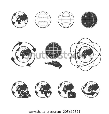 Travelling icon set with globe earth on white background. Rasterized version. - stock photo