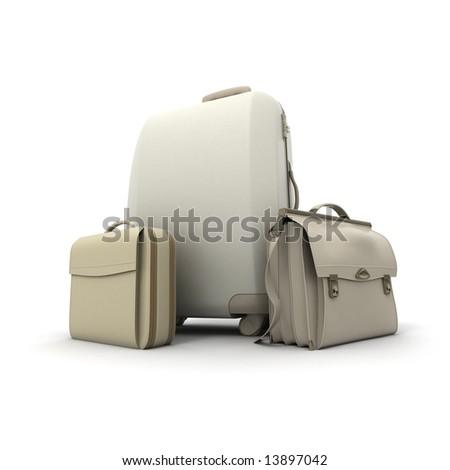 Travelling kit in beige colors - stock photo