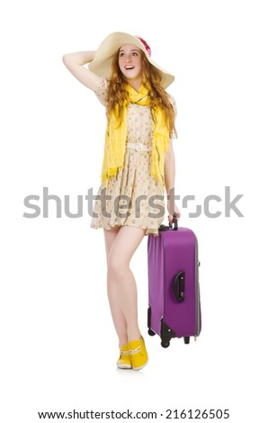 Travelling tourism concept isolated on white - stock photo
