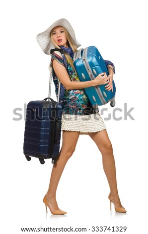 Travelling woman isolated on white - stock photo