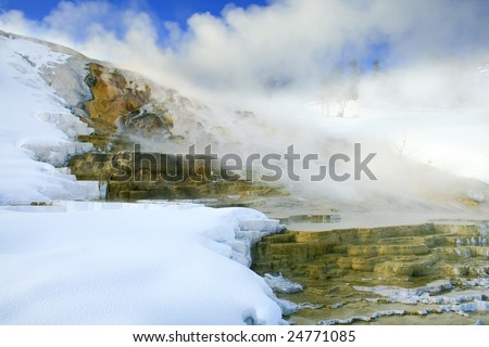 Travertine formations at Mammoth Hot Springs in Yellowstone National Park - stock photo