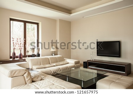 Travertine house: Bright and pleasant living - stock photo