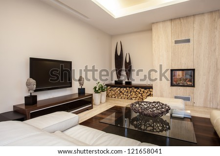 Travertine house: Bright and pleasant living room in house - stock photo