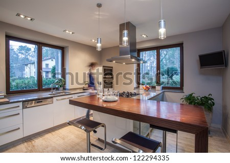 Travertine house - clever idea in the kitchen - stock photo