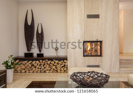 Travertine house: interior of comfortable contemporary living room - stock photo