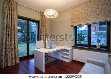 Travertine house - modern interior home office - stock photo