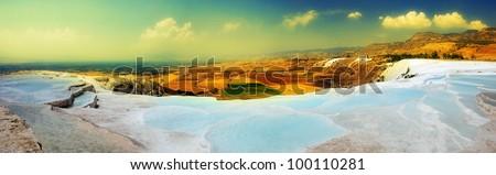 Travertine pools and terraces panorama, Pamukkale, Turkey - stock photo
