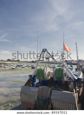 Trawler with Fishing Net in harbor - Barfleur, Basse Normandy, France - stock photo