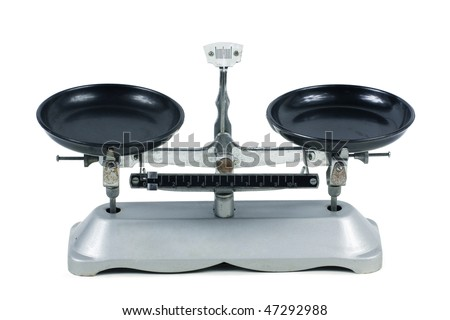 Tray balance on white background - stock photo