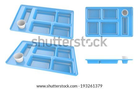 Tray blue plastic plate container for food isolated on white background
