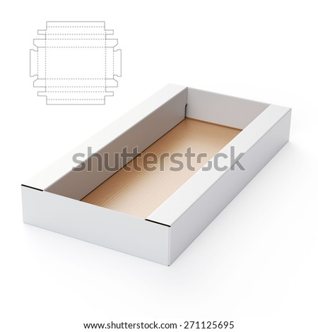 Tray Box with Die Cut Template - stock photo