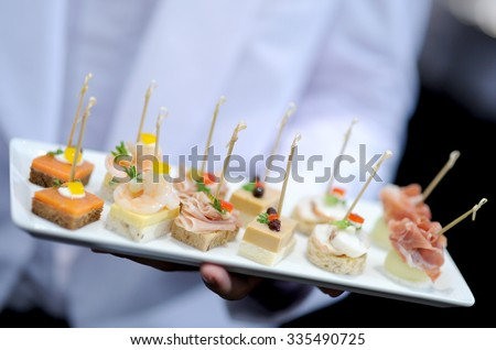 tray of appetizers - stock photo