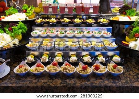 tray of assorted food for salad buffet  - stock photo