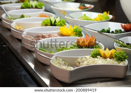 tray of assorted food for salad buffet in local market The salad  - stock photo