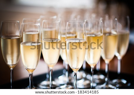 Tray of champagne - stock photo
