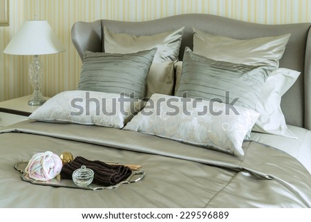 tray of crochet on bed in luxury bedroom - stock photo