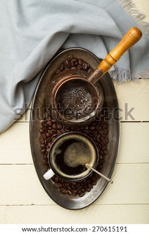 Tray of freshly made coffee (top view) - stock photo