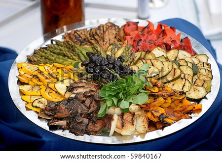 Tray of grilled vegetables