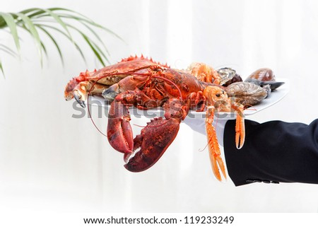 tray of seafood on hand - stock photo