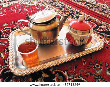 Tray of tea in coffeehouse