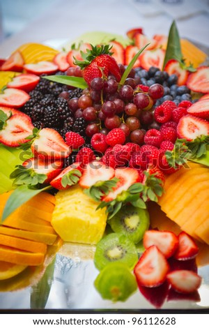 tray of various delicious, tropical fruits - stock photo