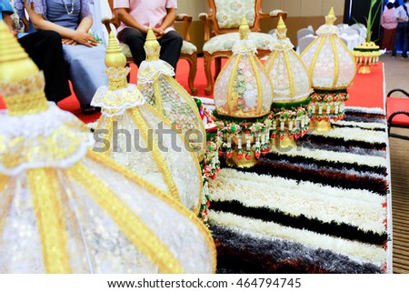 Tray of wedding gift cover with golden lacework by groom for give to him bride in Thai Wedding Traditional.