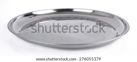 tray. stainless steel tray on the background