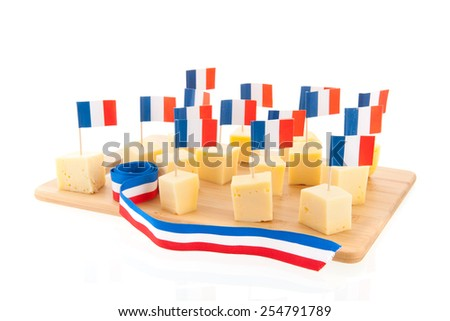 Tray with French cheese cubes with flags