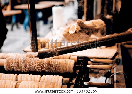 Trdelnik - traditional cake and sweet pastry from Czech Republic, Slovakia and Hungary - stock photo