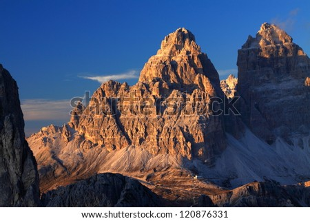 Tre cime di Lavaredo at sunset, Dolomite Alps, Italy - stock photo