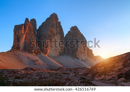 Tre Cime di Lavaredo in beautiful surroundings at sunset in the Dolomites in Italy, Europe (Drei Zinnen)