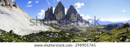 Tre cime di Lavaredo panoramic view - Dolomitics landscapes - stock photo