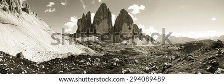 Tre cime di Lavaredo panoramic view - Dolomitics landscapes sepia toned image - stock photo
