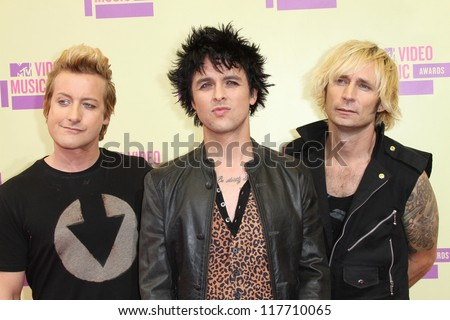 Tre Cool, Billie Joe Armstrong, Mike Dirnt at the 2012 Video Music Awards Arrivals, Staples Center, Los Angeles, CA 09-06-12 - stock photo