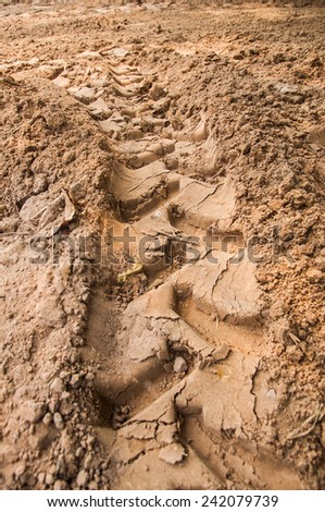 Tread pattern of a truck tire in soft sand - stock photo