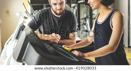 Treadmill Athlete Sporty Healthy Workout Fit Concept - stock photo