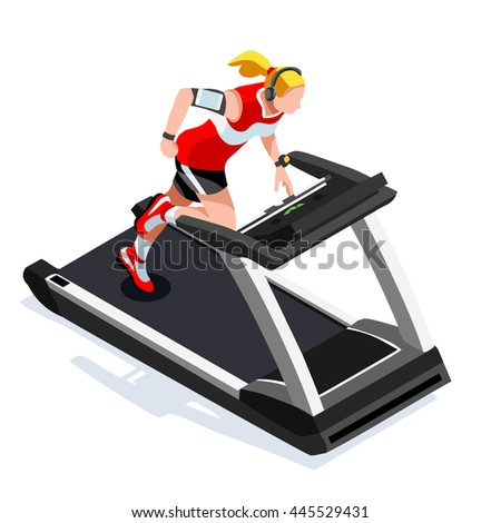 Treadmill Gym Class Working Out. Gym Equipment Treadmill Running Athlete Runners Working Out Fitness Gym Class. 3D Flat Isometric Marathon Runners athlete training Fitness Class Image. - stock photo