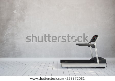 Treadmill in interior room at home in front of concrete wall (3D Rendering) - stock photo