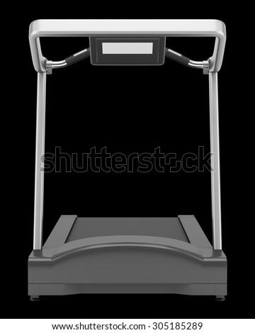 treadmill isolated on black background - stock photo