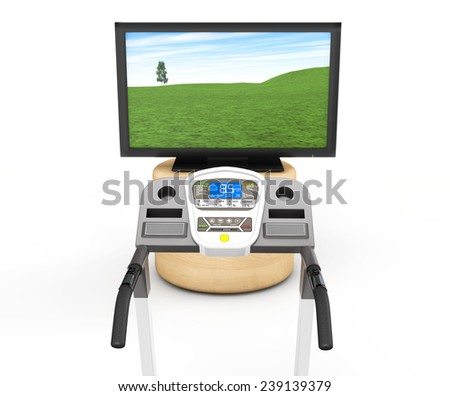 Treadmill Machins with TV on a white background - stock photo